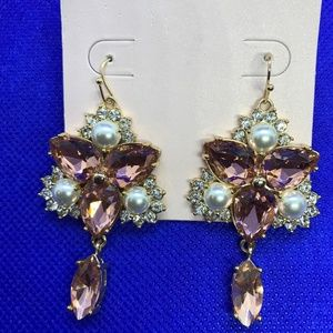 Rachel Parcell Pink Crystal Chandelier Earrings